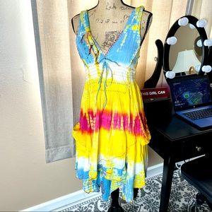 Boho MIDI Dress Women's Cascade Small Multicolor
